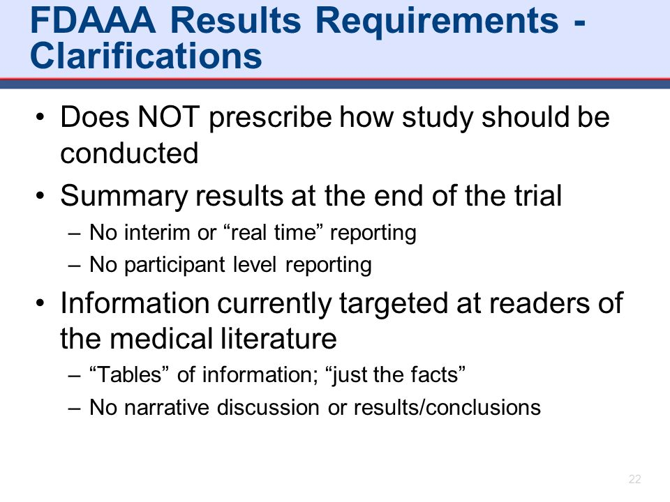 FDAAA Results Requirements - Clarifications