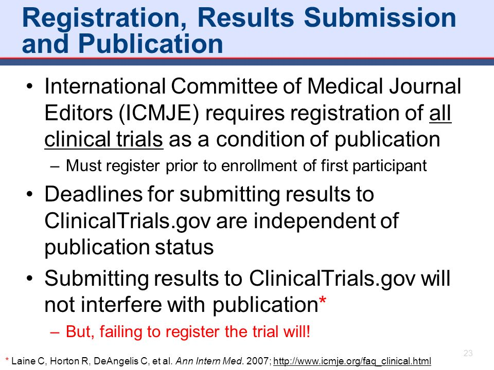 Registration, Results Submission and Publication