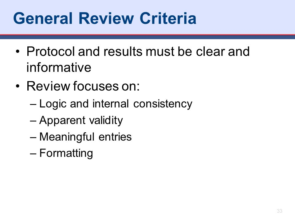 General Review Criteria