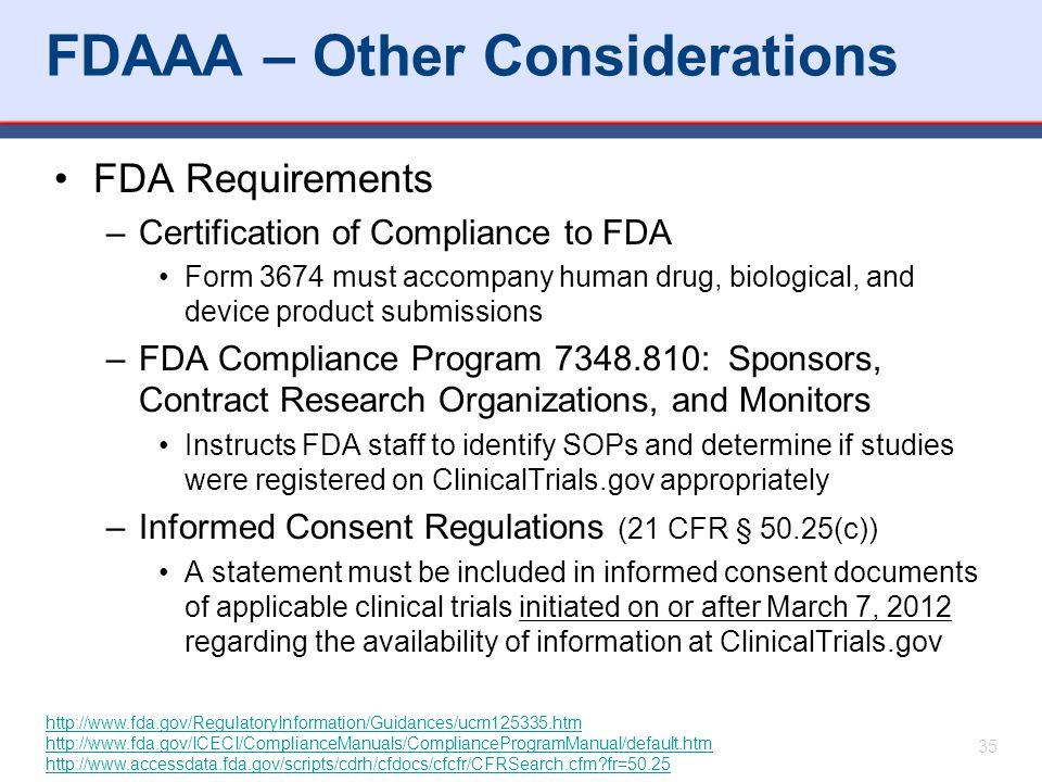 FDAAA – Other Considerations