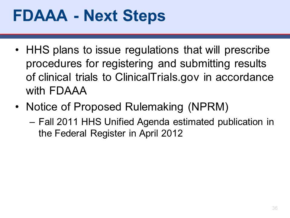 FDAAA - Next Steps