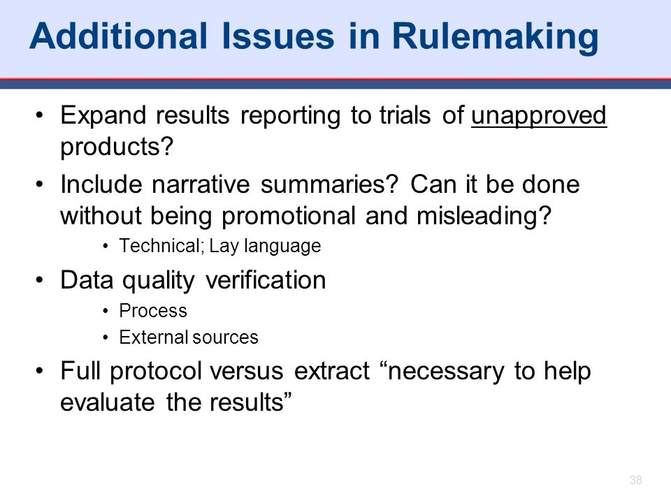 Additional Issues in Rulemaking