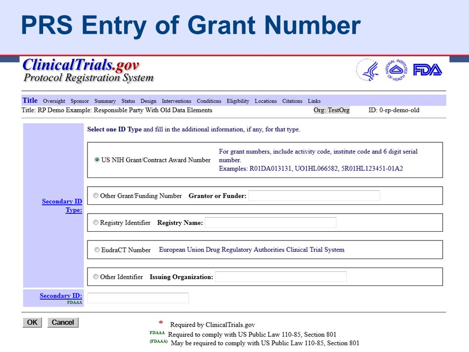 PRS Entry of Grant Number