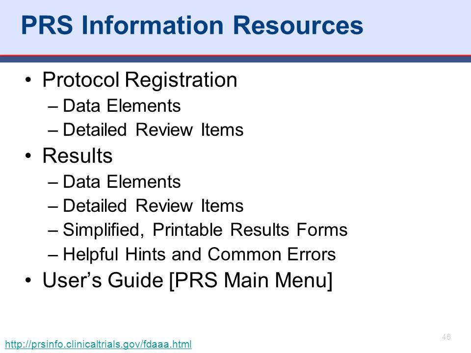PRS Information Resources