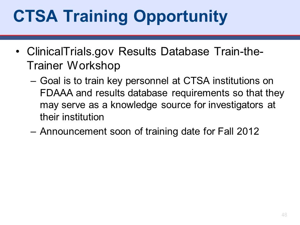 CTSA Training Opportunity