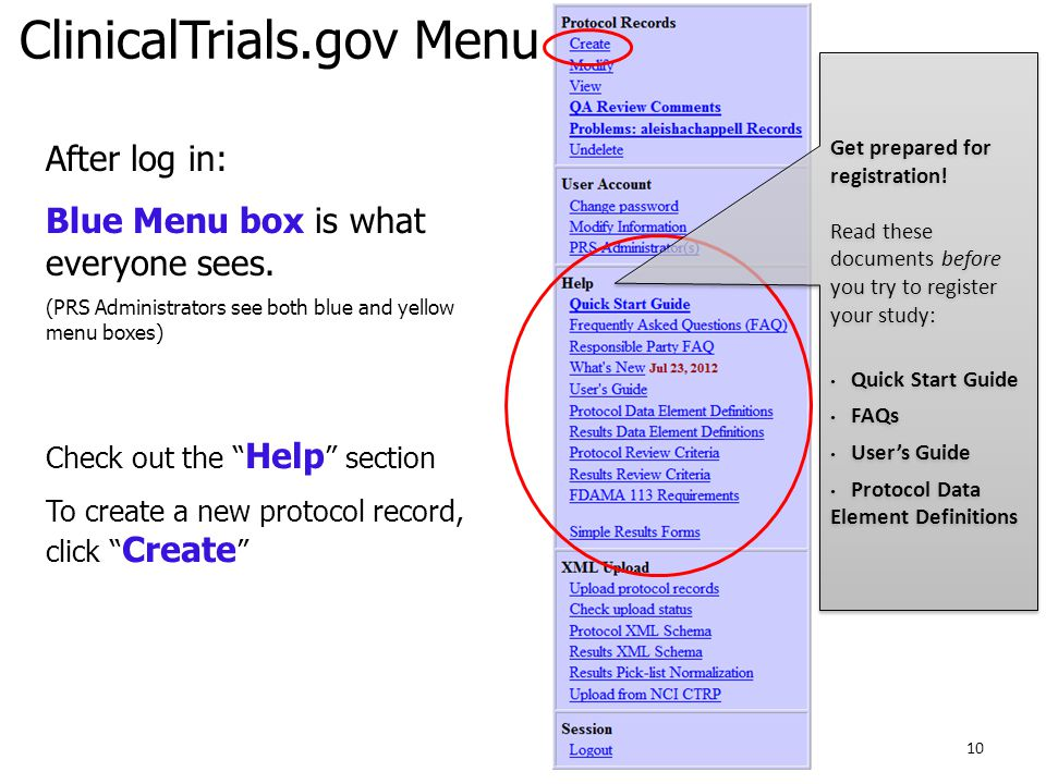 ClinicalTrials.gov Menu