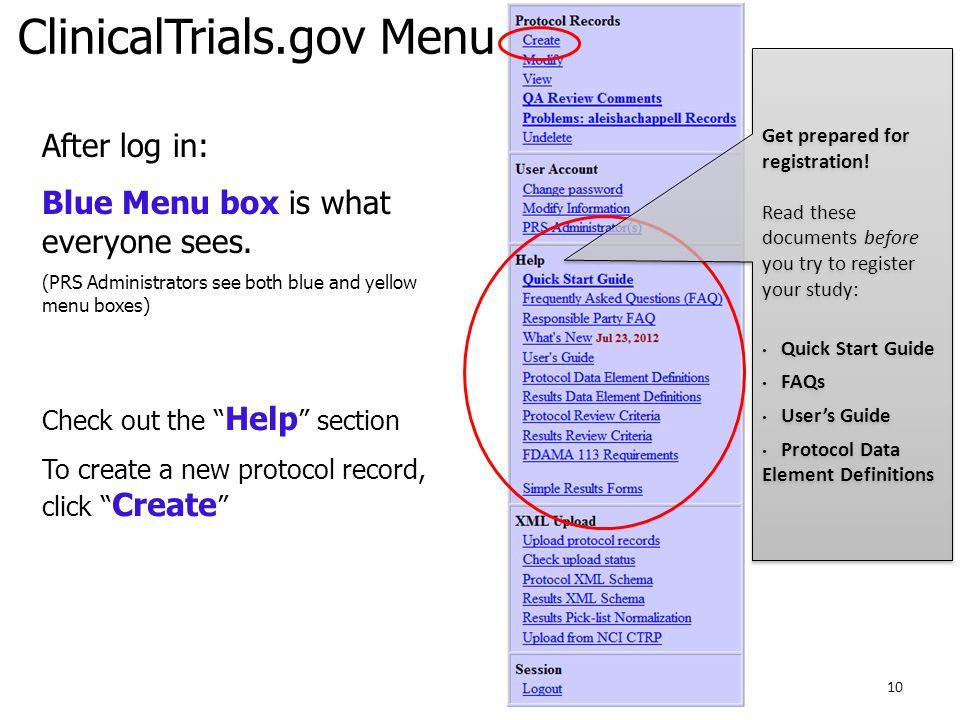 ClinicalTrials.gov Menu