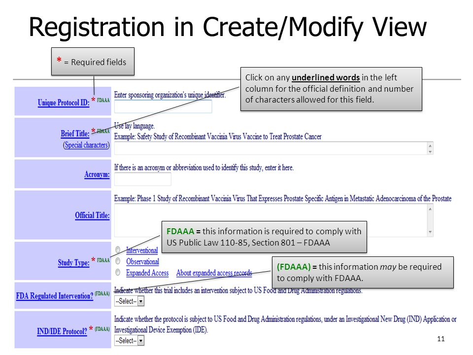 Registration in Create/Modify View