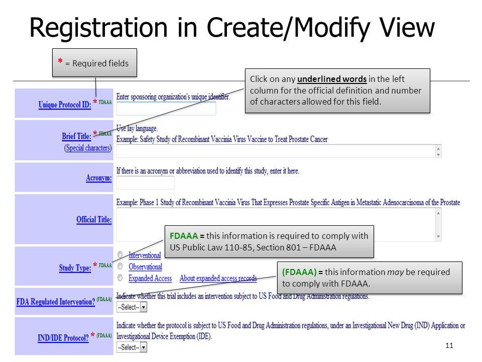 Registration in Create/Modify View