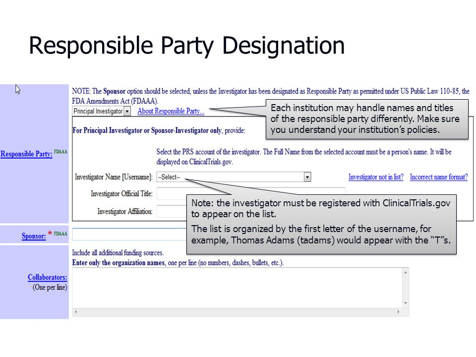 Responsible Party Designation