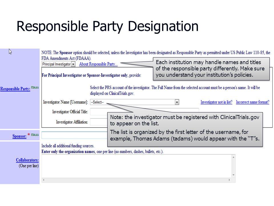 Responsible Party Designation