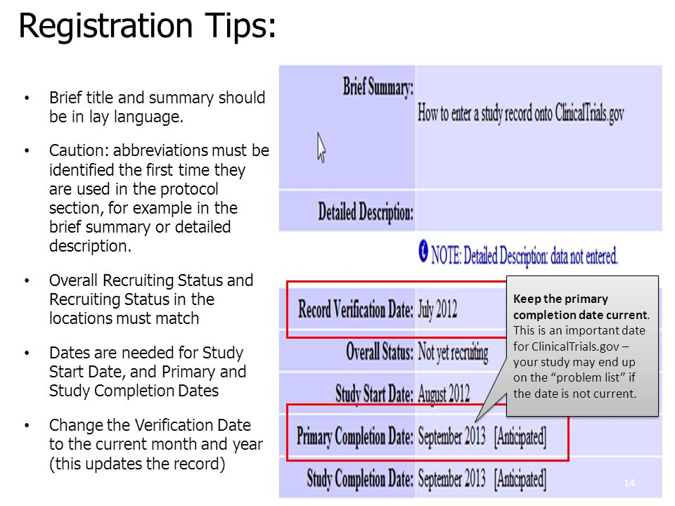 Registration Tips: Brief title and summary should be in lay language.
