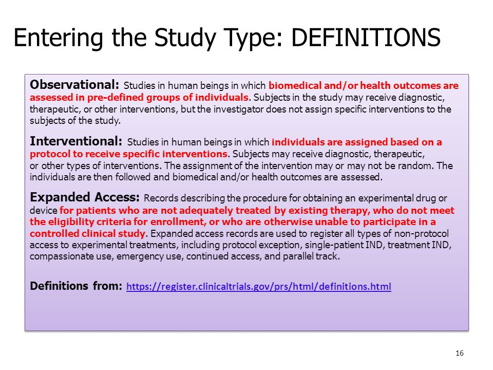 Entering the Study Type: DEFINITIONS