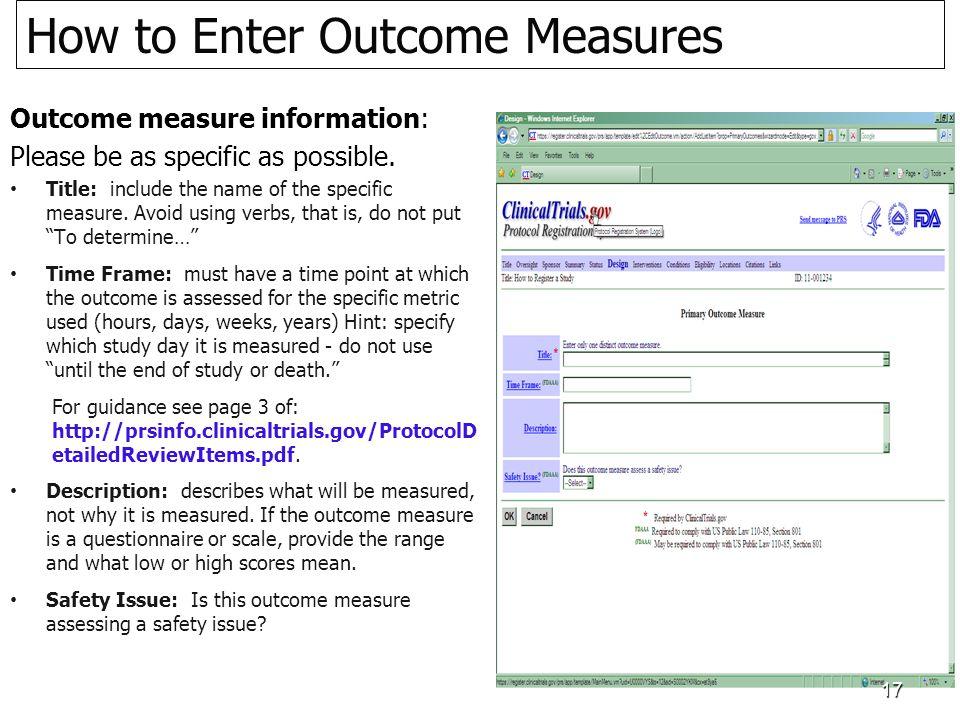 How to Enter Outcome Measures easur