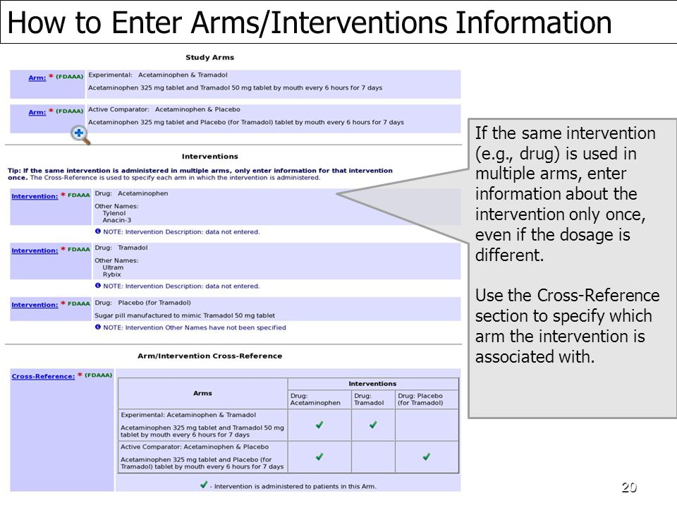 How to Enter Arms/Interventions Information