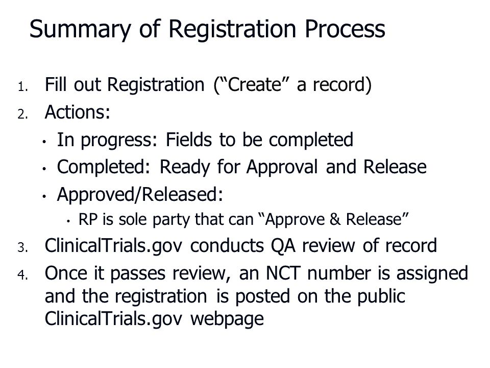 Summary of Registration Process