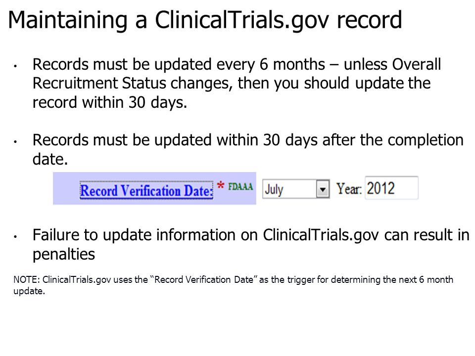 Maintaining a ClinicalTrials.gov record