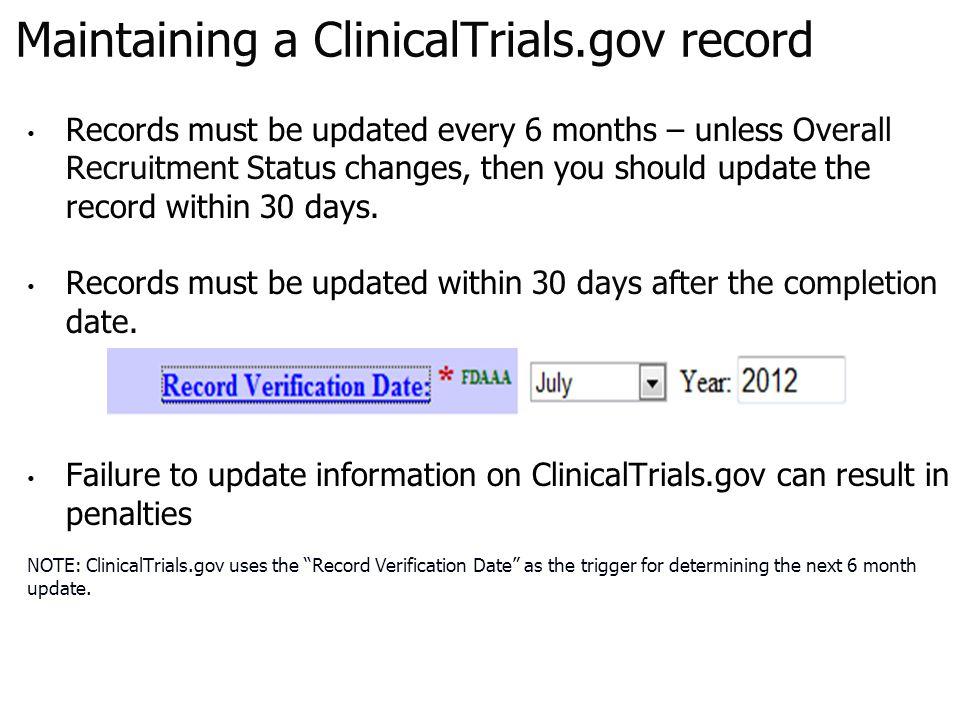 Maintaining a ClinicalTrials.gov record