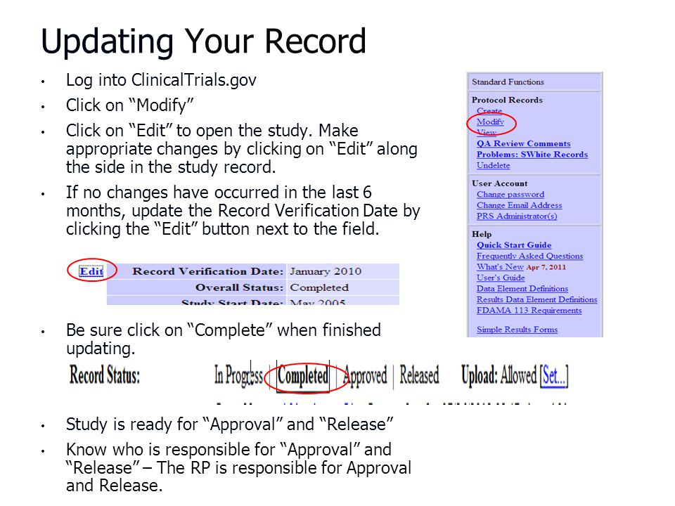 Updating Your Record Log into ClinicalTrials.gov Click on Modify