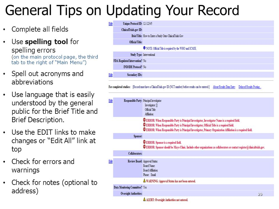 General Tips on Updating Your Record