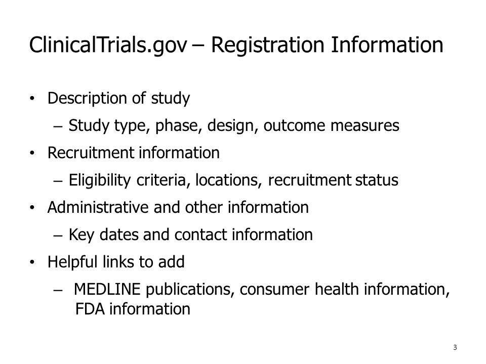 ClinicalTrials.gov – Registration Information