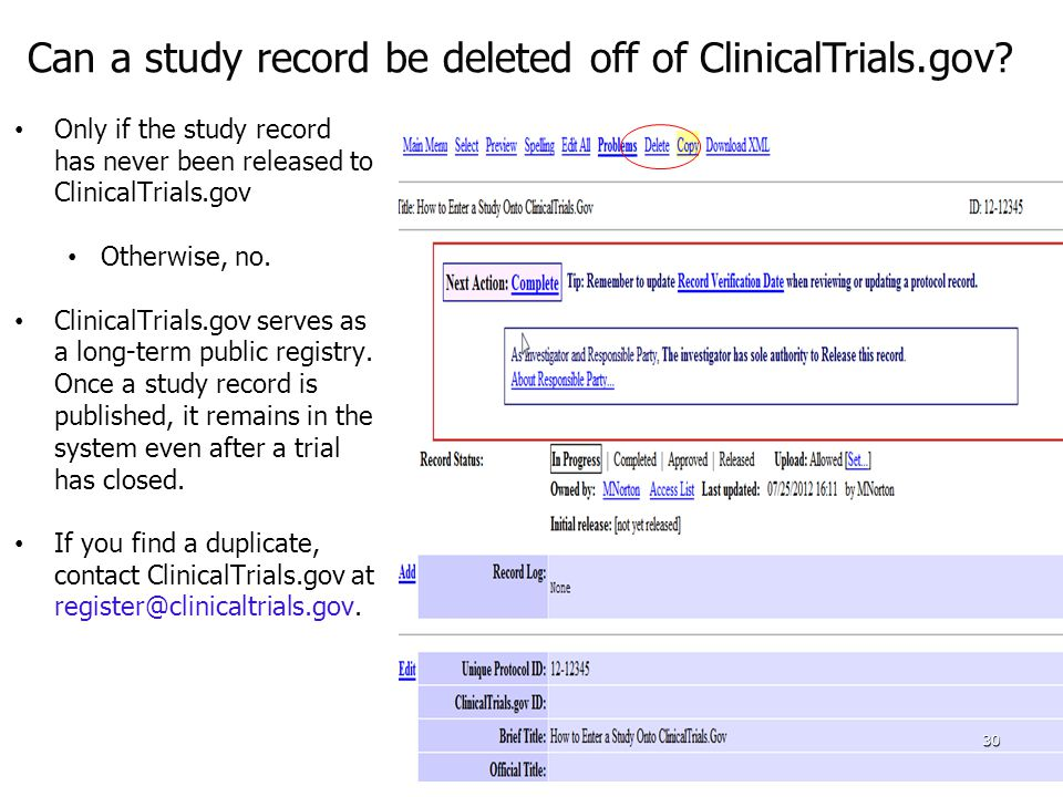 Can a study record be deleted off of ClinicalTrials.gov