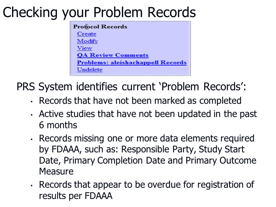 Checking your Problem Records