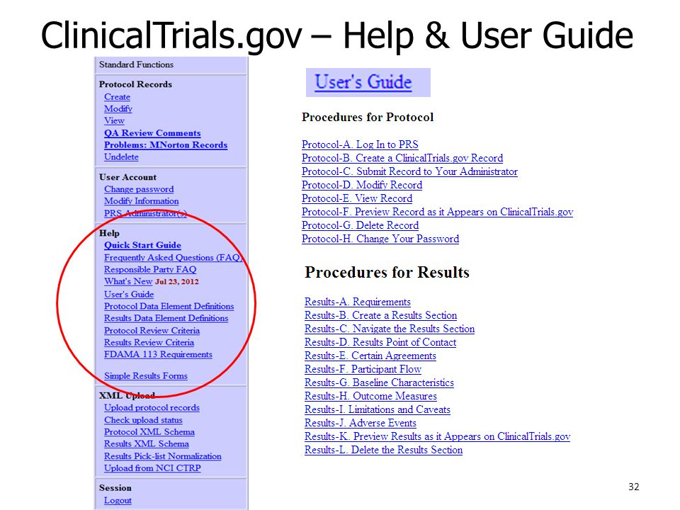 ClinicalTrials.gov – Help & User Guide