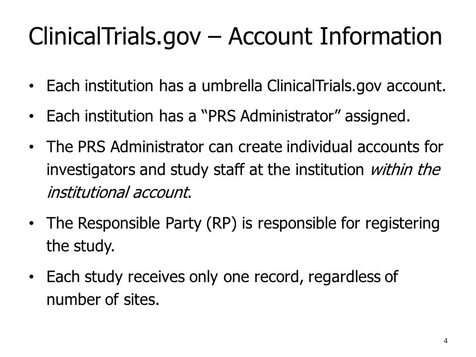 ClinicalTrials.gov – Account Information