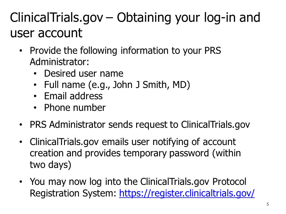 ClinicalTrials.gov – Obtaining your log-in and user account