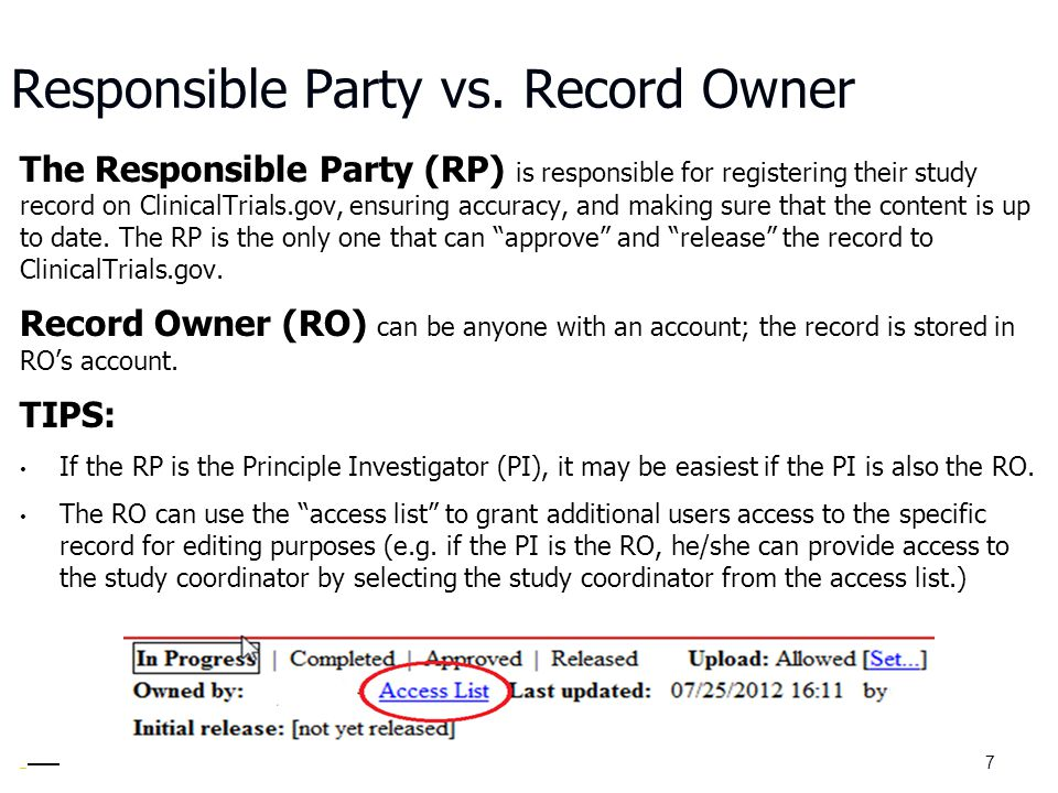 Responsible Party vs. Record Owner