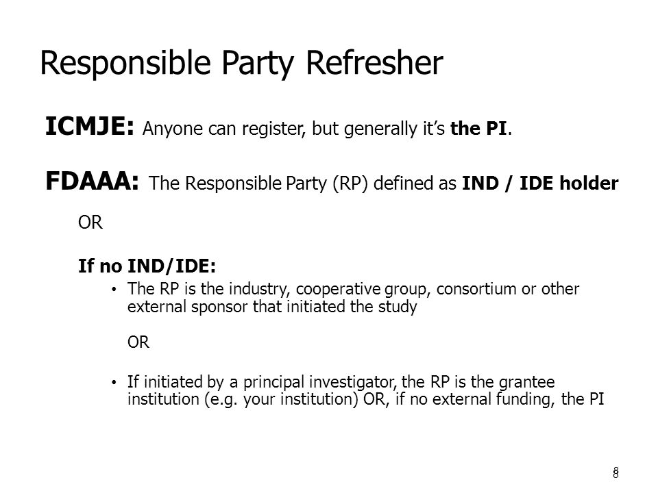 Responsible Party Refresher