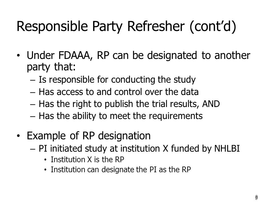 Responsible Party Refresher (cont'd)