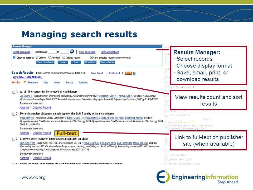 Managing search results