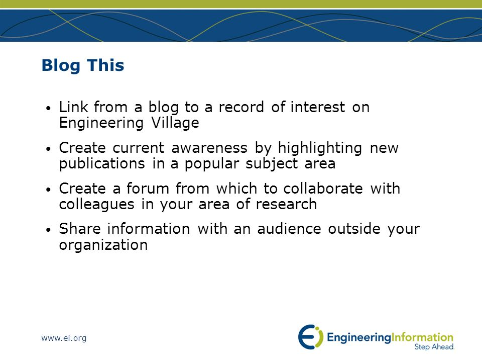 Blog This Link from a blog to a record of interest on Engineering Village.