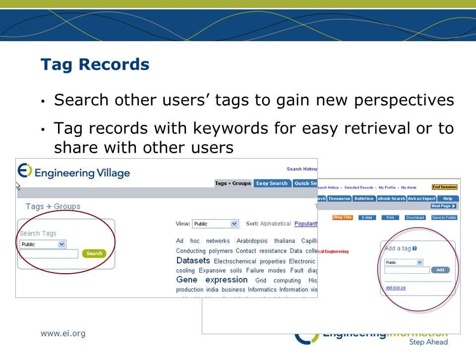 Tag Records Search other users' tags to gain new perspectives.