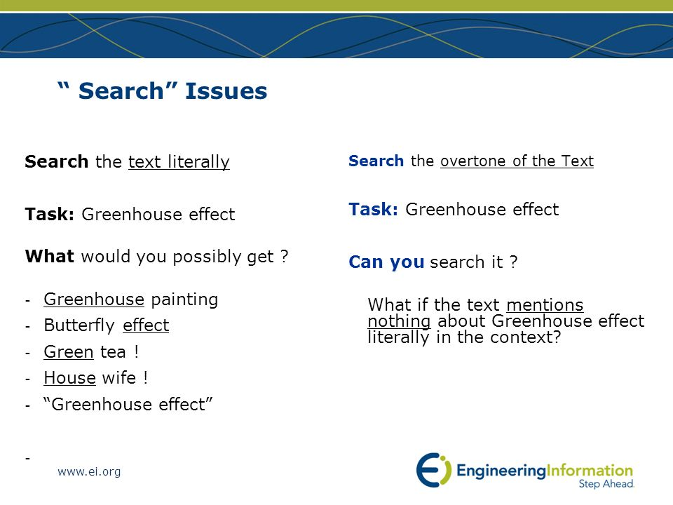 Search Issues Search the text literally Task: Greenhouse effect