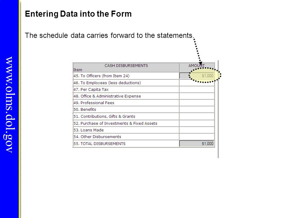 www.olms.dol.gov Entering Data into the Form