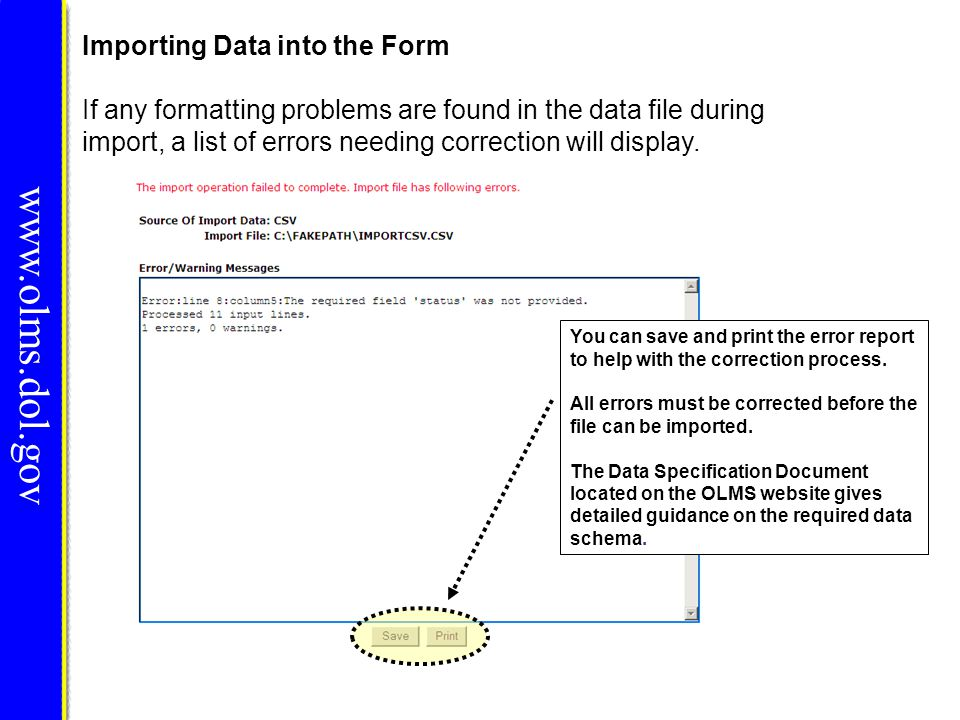 www.olms.dol.gov Importing Data into the Form