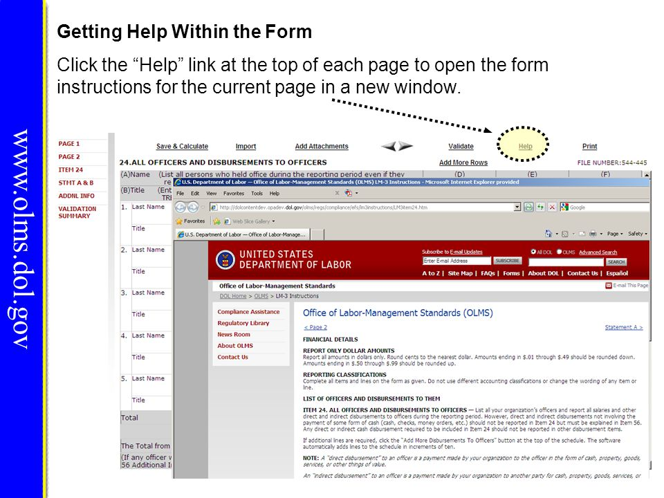 www.olms.dol.gov Getting Help Within the Form