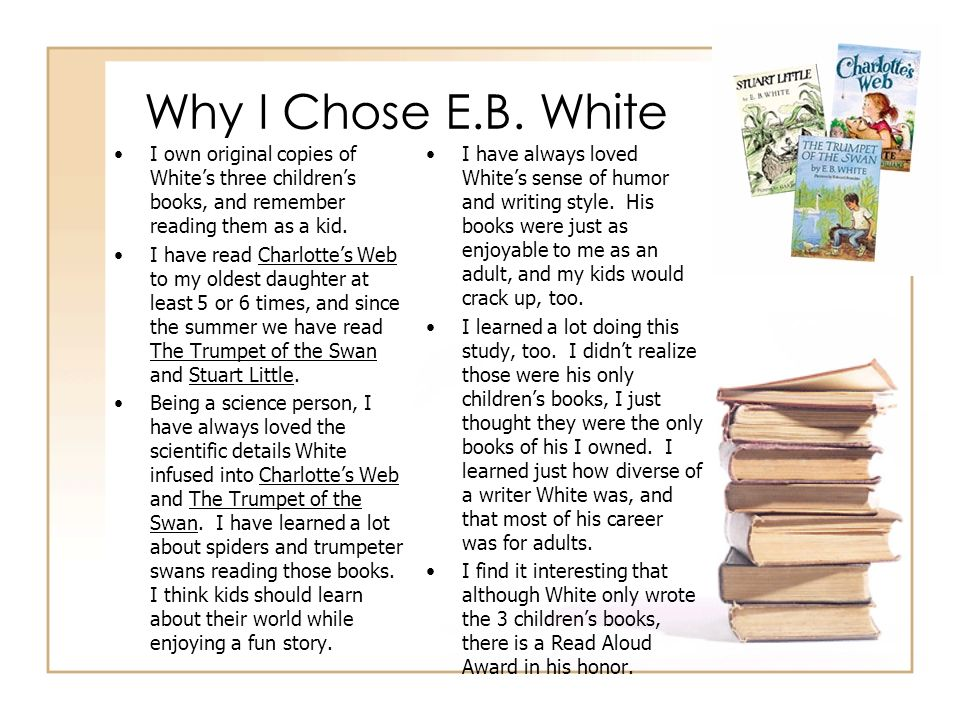 Why I Chose E.B. WhiteI own original copies of White's three children's books, and remember reading them as a kid.