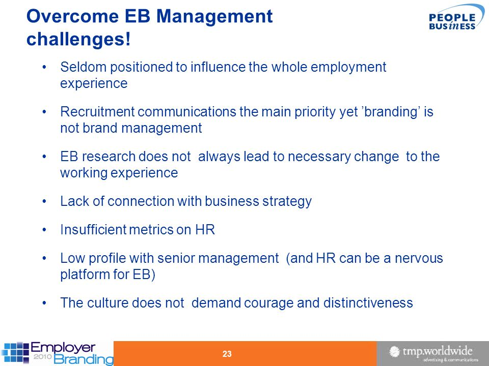 Overcome EB Management challenges!