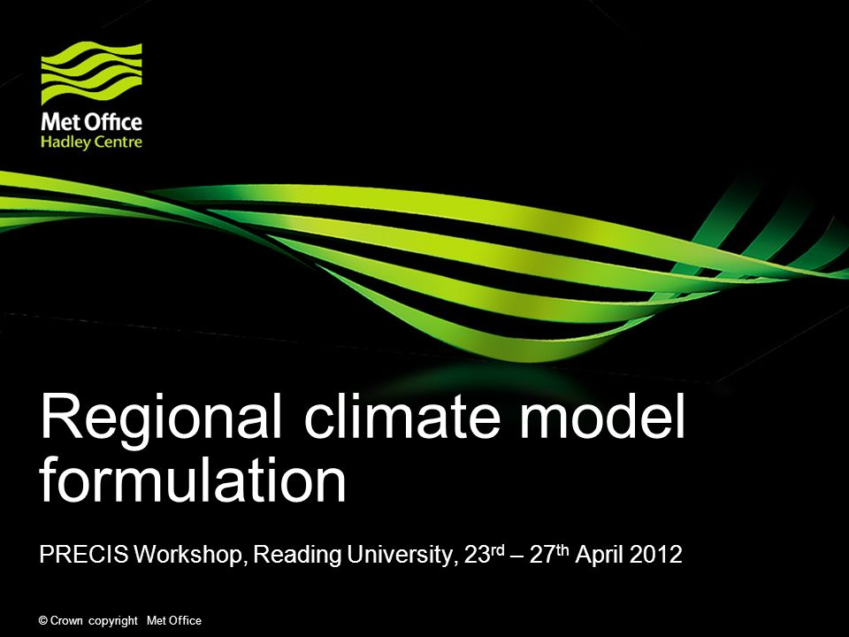 Regional climate model formulation