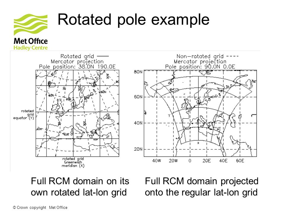 Rotated pole example Full RCM domain on its own rotated lat-lon grid
