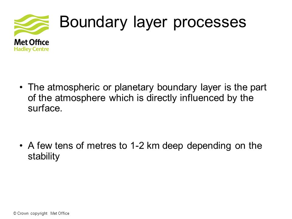 Boundary layer processes