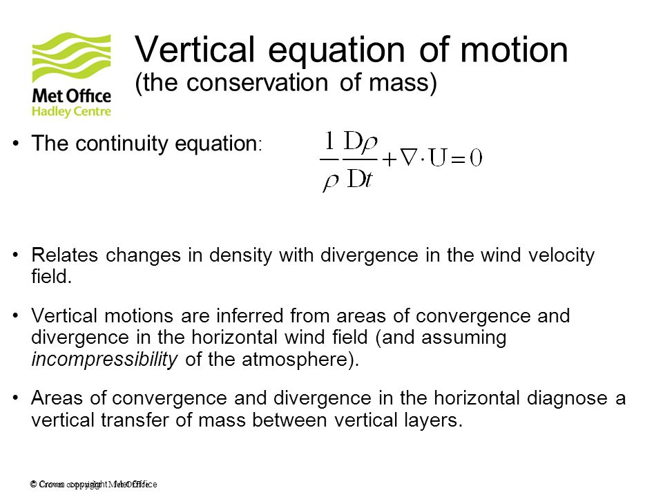 Vertical equation of motion (the conservation of mass)