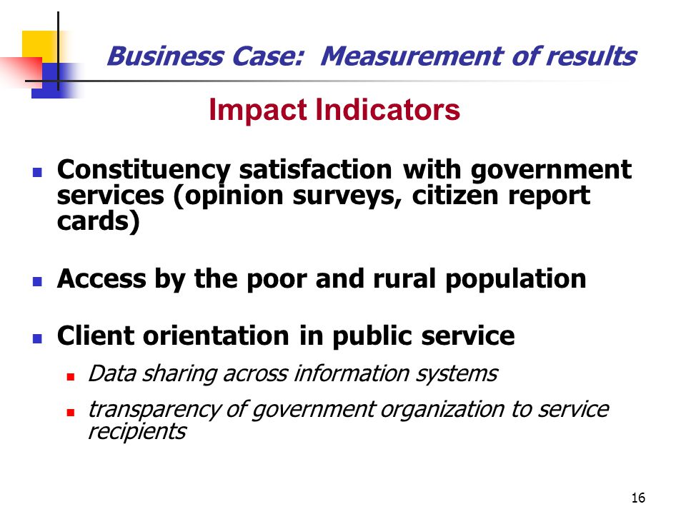 Business Case: Measurement of results