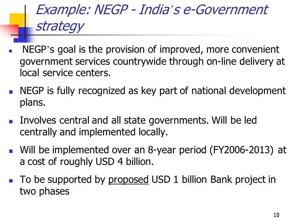 Example: NEGP - India's e-Government strategy