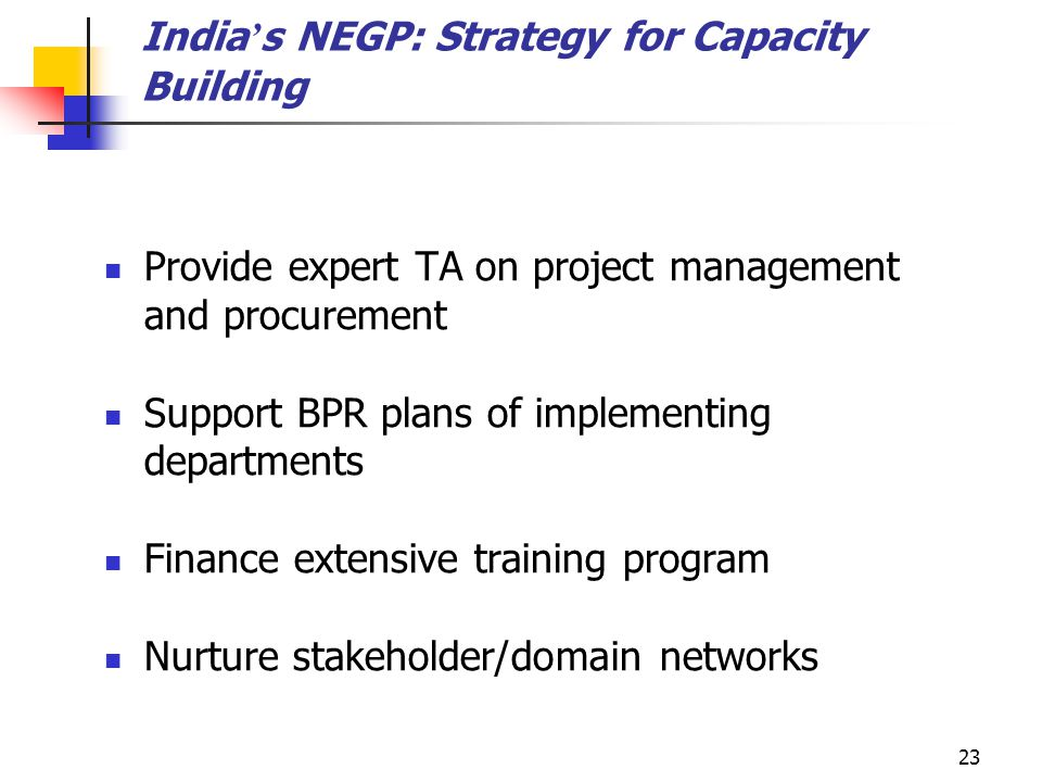 India's NEGP: Strategy for Capacity Building