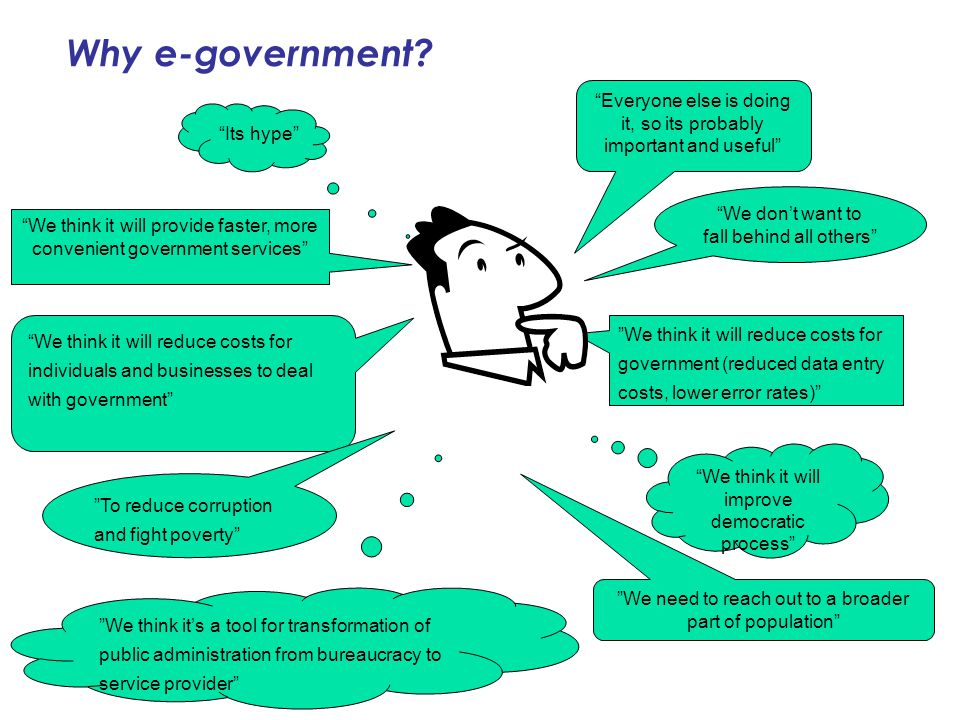 Why e-government Everyone else is doing it, so its probably important and useful Its hype We don't want to fall behind all others